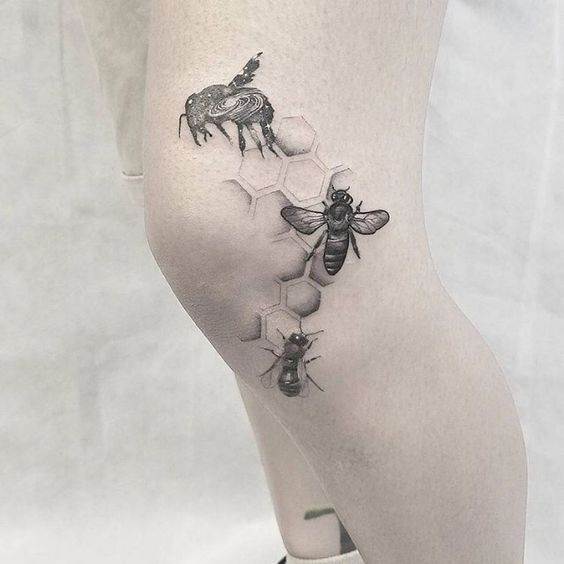 Bees And Dotwork Honeycomb Knee Tattoo