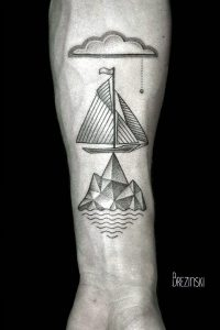 Boat And Ocean Geometry Forearm Tattoo