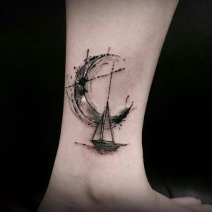 Brush Stroked Sailboat Ankle Tattoo