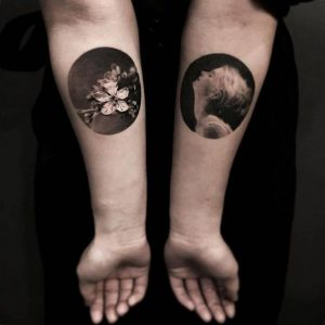 Cherry Blossoms And Woman Circle Tattoos