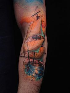 Watercolor Boat Arm Tattoo