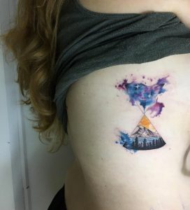 Earth and Space Hourglass Side Tattoo