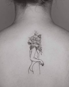 Floral Faced Lady Back Tattoo