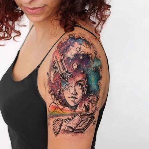 Galaxy Thoughts Arm Tattoo