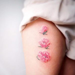 Watercolor Peonies Thigh Tattoo