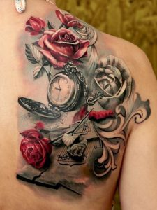 Clock With Music Sheet And Roses Back Tattoo
