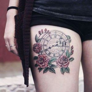 Clock With Roses Thigh Tattoo
