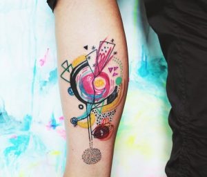 Colorful Abstract Leg Tattoo