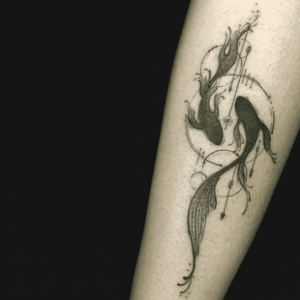 Grey Ink Pisces Forearm Tattoo