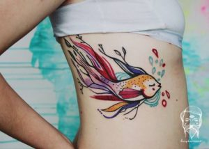 Long Tailed Fish Side Tattoo