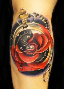 Time And Rose Arm Tattoo