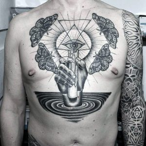 Eye Of Providence With Moth Chest Tattoo