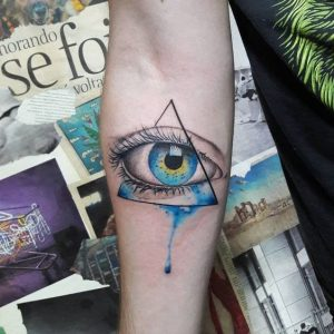 Watercolor Eye Of Providence Arm Tattoo