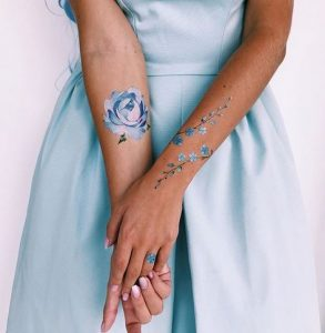 Forget-Me-Not Twigs And Peony Forearm Tattoos