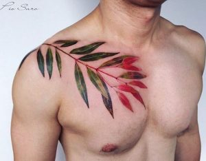 Gradient Leaves Chest Tattoo