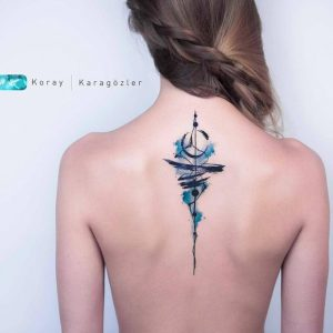 Watercolor Abstract Spine Tattoo