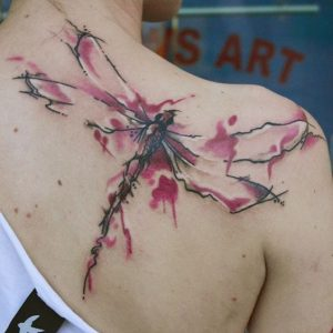 Watercolor Dragonfly Back Tattoo