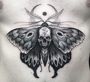 Dotwork Moth With Skull Chest Tattoo