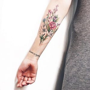 Floral Bouquet Forearm Tattoo