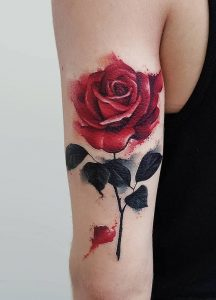 Realistic Watercolor Rose Arm Tattoo