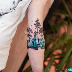 Gorgeous Forest Forearm Tattoo