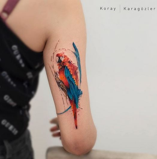 Watercolor Parrot Arm Tattoo