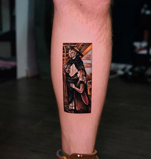 Classical Painting Inspired Leg Tattoo