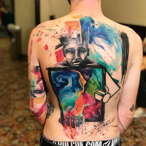 Abstract Portrait Back Tattoo