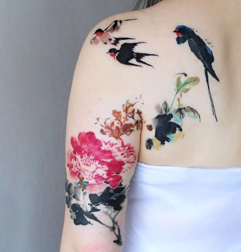 Birds And Flowers Watercolor Tattoo