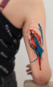 Bright Colored Parrot Arm Tattoo
