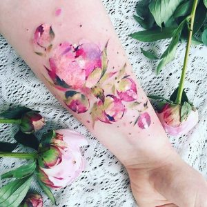 Watercolor Floral Forearm Tattoo